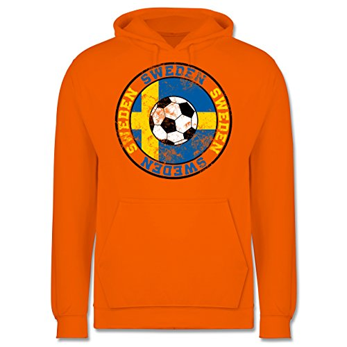 EM 2016 - Frankreich - Sweden Kreis & Fußball Vintage - Männer Premium Kapuzenpullover / Hoodie Orange