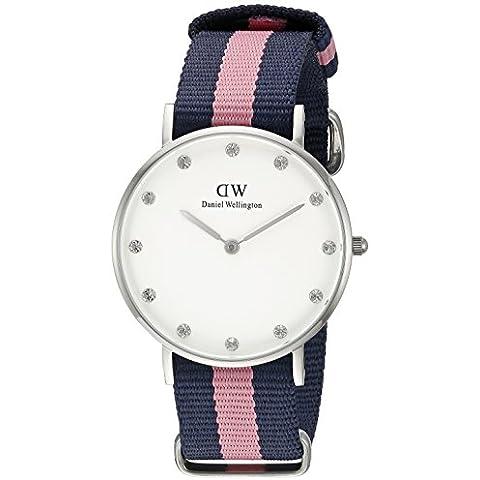 Daniel Wellington 0906DW - Reloj con correa de cuero para mujer, color blanco / gris