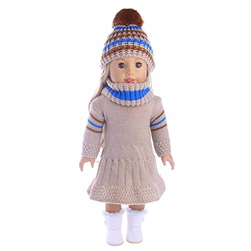 3pc puppe kleidung , YUYOUG Rock & Hat & Schal Dreiteiliger Anzug FüR 18 Zoll Unsere Generation American Girl Doll Und Andere 43-46 Cm Puppen (F)