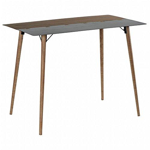 PierImport Table Haute Mange-Debout 1m80 en métal plaqué Sapin Massif et métal, et Pieds Bois Massif 180x60x105cm Vulcan