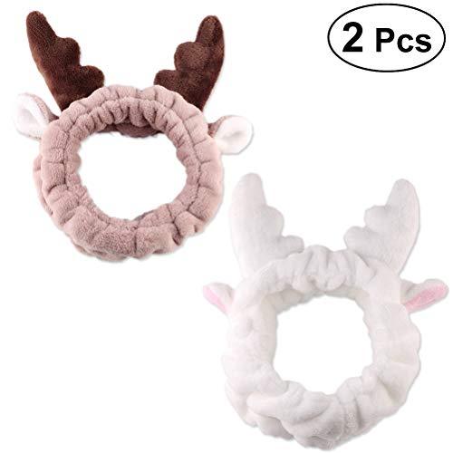 2 Geweih (frcolor 2süße Geweih Ohren Headbands weichem Coral Fleece Elastic Hair Band für Make-up Dusche Spa Maske)