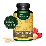 Coenzima Q10 + Vitaminas C + E + Zinc Vegavero® | COMBINACIÓN ÚNICA | SIN ADITIVOS | Antioxidante + Defensas + Energía | 120 Cápsulas | Ubiquinol | Q10 Complex