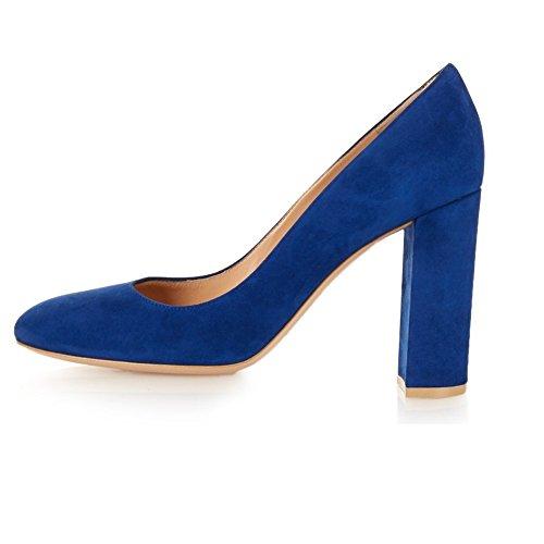 ELASHE - Femmes - Escarpins- Orteil d'amande - Talon chunky - Bloc 10CM - Cuir synthétique - Plusieurs coloris - Talon épais - Bout pointu fermé Bleu