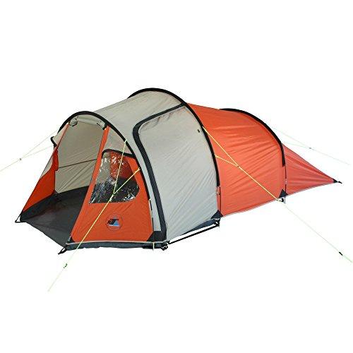 10T Mandiga 3 Orange - Tunnelzelt für 3 Personen, Campingzelt mit großer Schlafkabine, wasserdichtes Familienzelt mit 5000mm, Zelt mit 2 Eingängen und 2 Fenstern, Festivalzelt mit Dauerbelüftung, 3 Mann Zelt mit Tragetasche, Zeltheringe und Zeltgestänge - 9