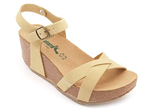 Bionatura sandali donna, tomaia pelle dune, suola gomma, zeppa alta 7 cm. (EU 41)