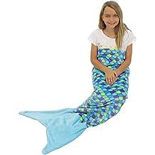 Blue and Purple with Blue Tail : Sleepyheads Mermaid Tail Blanket Super Soft Fleece Sleeping Bag for Kids and Adults Blue and Purple with Blue Tail (SH5500-5005)