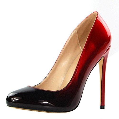 ENMAYER Femmes PU Matériel Talons hauts Stiletto Pompes Round Toe Slip-on Office Lady Eté Chaussures Rouge