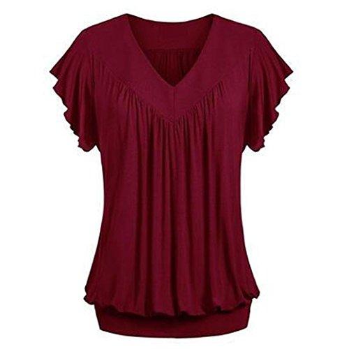 ESAILQ Damen Winterkleider rückenfreies Langarm elegant Chiffon dunkelblau rosa gestreift Hippie Shirtkleid Neckholder Bunte weißes Kleid kurz (S,Wein)