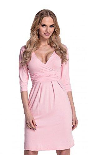 Glamour Empire. Femme. La Robe fourreau plissée avec décolleté cache-coeur. 001 Poudre Rose