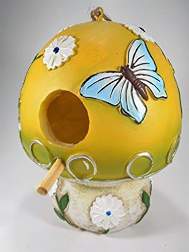 Vogelhaus Nistkasten Pilz mit Blumen und Schmetterling - 2