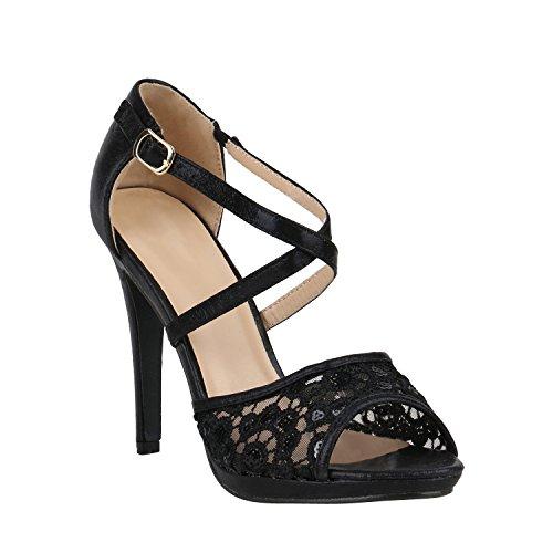 Damen Schuhe Schnürpumps Cut-Outs Leder-Optik Stilettos Pumps 157140 Schwarz Pailletten 39 Flandell