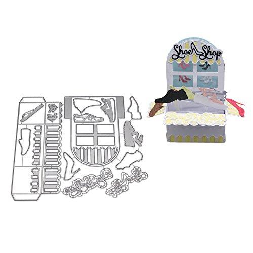 zmigrapddn Stanzschablonen für Karten, Schuhe, Schuhe, 3D-Box, Metall Stanzform, Scrapbooking, Basteln, DIY Karten-Herstellung Schablone, Silber