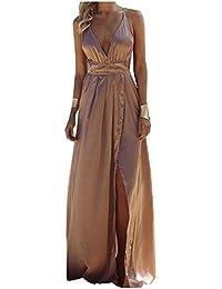 Minetom Donna Estate Vestiti da Sera Eleganti Lungo Abiti da Cocktail Senza  Maniche Scollo a V 270d95978c2