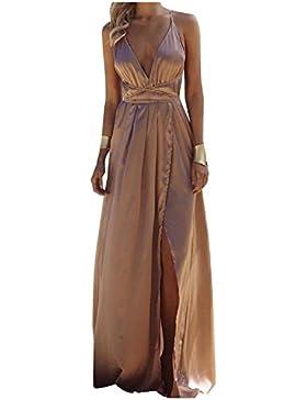1030947d9819 Minetom Donna Estate Vestiti da Sera Eleganti Lungo Abiti da Cocktail Senza  Maniche Scollo a V