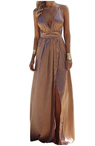 c84deeab83a2 Minetom Donna Estate Vestiti da Sera Eleganti Lungo Abiti da Cocktail Senza  Maniche Scollo a V ...