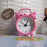 GCDN Doméstico Portátil Lindo Mini Cartoon Reloj Despertador Und Número Campana Doble Escritorio Reloj Digital Decoración Hogar #0307 (6.3 4.7 1.9 Cmyellow) - Rosa, 6.3 4.7 1.9 cm