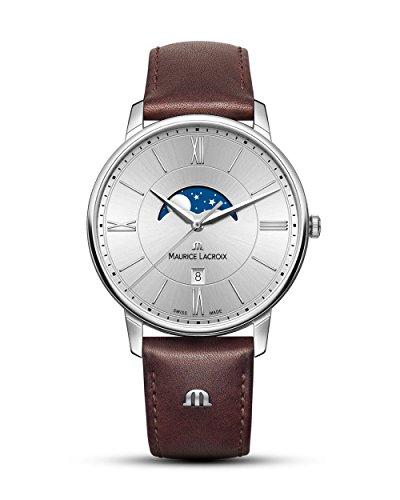 Maurice Lacroix Herren Analog Quarz Uhr mit Leder Armband EL1108-SS001-110-1