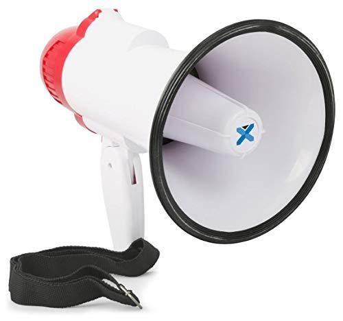 Vexus MEG020 Megafon 20W Megaphon mit Aufnahme-Funktion (Sirene, Batterie-Betrieb, inkl. Kordel, Pistolen-Handgriff, inkl. Tragekordel) rot-weiß Sirene 20w