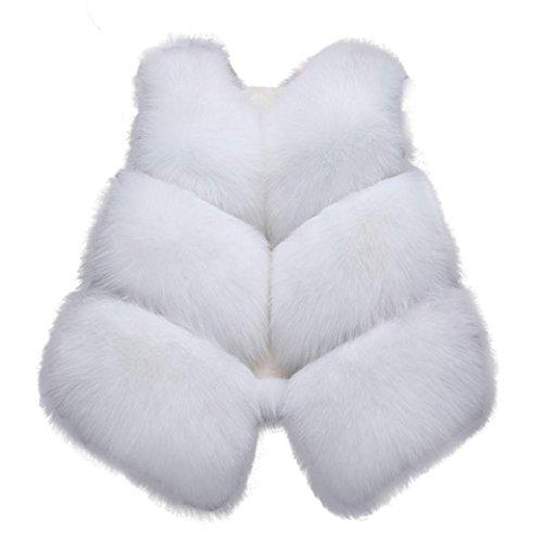 Sonnena invernale da donna in pelliccia di volpe gilet gilet gilet giacca cappotto corto Outwear L Black White