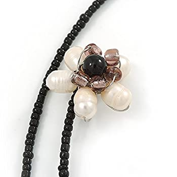Shell Butterfly & Freshwater Pearl Flower Flex Wire Choker Necklace - Adjustable 3