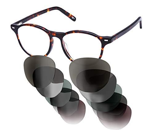Sym Sonnenbrille mit wählbarer Sehstärke von -4.00 (kurzsichtig) bis +4.00 (weitsichtig) und auswechselbaren Gläser in 6 Farben, für Damen, Modell 02