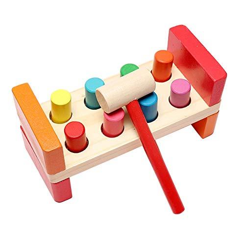 Mcottage Hämmern Bank Holz Spielzeug mit Holzhammer Entwicklungsbiologie Spielzeug Helfende Feinmotorik