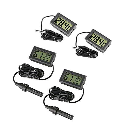 JZK 2 x Piccolo termometro Digitale con sonda + 2 x igrometro termoigrometro con sonda misuratore umidità per Acquario terrario rettili Tartaruga incubatrice frigo