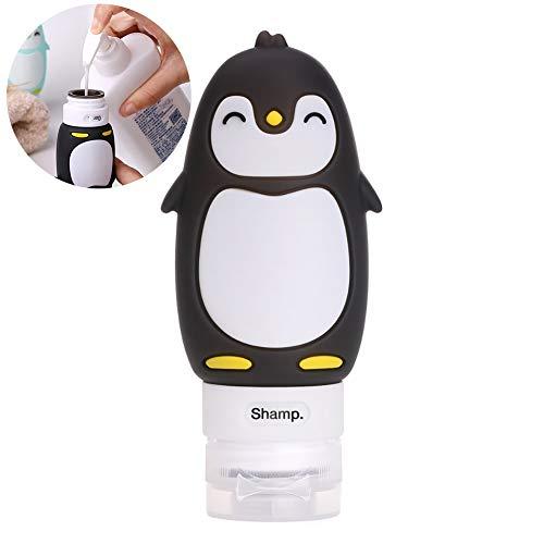 1PC bewegliche Spielraum-Flaschen Lächeln Penguin Leak Proof Squeezable Silizium-Rohre Reisegröße Toilettencontainer Tsa Approved Reisezubehör für Shampoo Liquid (Schwarz, 3fl.oz) -