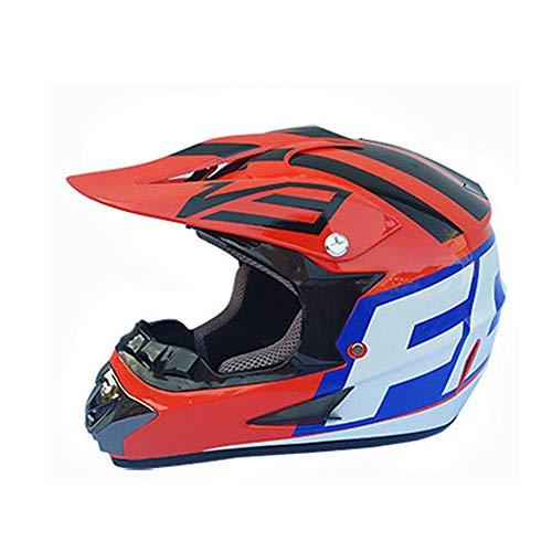 TOL MY Motocross-Sturzhelm, D.O.T. Mit Motorrad-Offroad-Rennsport Enduro-Helme für Erwachsene Cross Country Geeignet für alle Jahreszeiten (Schutzbrille + Maske + Handschuhe),C,M