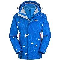 Gimitunus Niños 2 en 1 Impermeable a Prueba de Viento Grueso paño Grueso y Suave Chaqueta de esquí con Capucha cálida Chaqueta de esquí (Color : Azul, tamaño : 130cm)