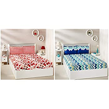Amazon Brand - Solimo Abstract Waves 144 TC 100% Cotton Double Bedsheet with 2 Pillow Covers, Green + Leafy Spring 144 TC 100% Cotton Double Bedsheet with 2 Pillow Covers, Red Combo