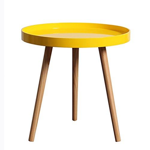 Hongsezhuozi Tische Teetisch Gelb Holzplatte Couchtisch Einfaches Wohnzimmer Kleiner runder Tisch Balkon Beistelltisch Schlafzimmer Nachttisch Freizeit Ablagetisch (Farbe : B)