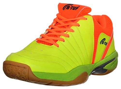 B-Tuf FIRE Badminton Shoes Unisex (Green/Orange) , UK 9