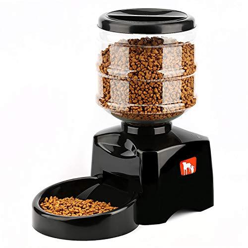 BianchiPamela 5.5L Automatische Futterautomat mit Sprachnachrichten-Aufnahme und LCD-Bildschirm Große Smart Dogs Cats Food Bowl Dispenser Schwarz
