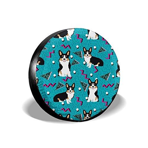 False warm warm tri Corgi Rad Dog Cute s Zig zag dots Blue Polyester Universal Spare Wheel Tire Cover Wheel Covers Jeep Trailer RV SUV Truck Camper Travel Trailer Accessories(14,15,16,17 Inch) 16inch -