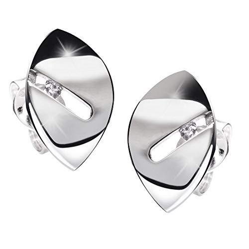 MATERIA Damen Ohrstecker oval 925 Silber rhodiniert mit Zirkonia deutsche Fertigung #SO-318