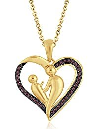 Silvernshine 9K Yellow Gold FN Red Garnet Sim Diamond Accent Mother & Child Heart Pendant Necklace