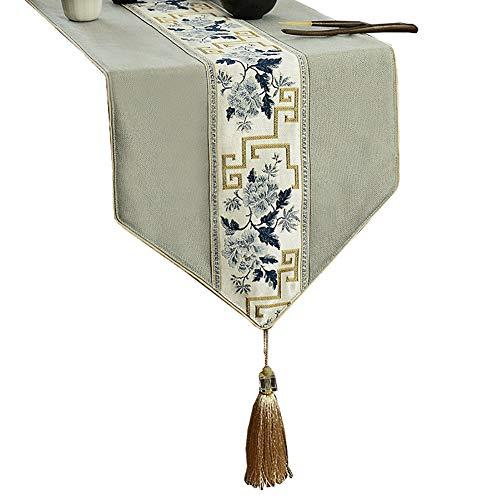 Chemin de table de Broderie avec Le Gland, des écharpes de Commode, Convient à la Table de Salle à Manger/Table Basse/Cabinet (Couleur : Style3, Taille : 35×180cm)