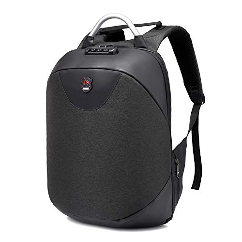 Best anti theft backpack in India 2020 SaleOnTM 15.6 Inch Laptop Anti-Theft Backpack with USB Plug Charging Port 30 Ltrs Fashion Business Bag for Men School College Office with Lock (Silver) - 1214 Image 2