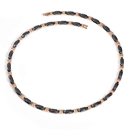 YINOX Rose Gold Schwarze Keramik Halskette für Frauen mit 27pcs 99,999% Pure Solid Germanium Healthy Energy 21 '' / 5MM -