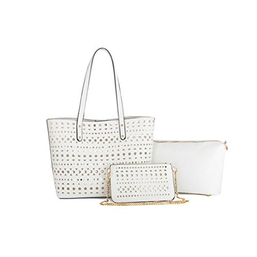 Honeymall Frauen PU Leder Handtaschen Set 3 teiliges Damen Handtaschenset Elegante Vintage Style Leder Crossbody hohl Tasche Handgelenktasche(Weiß)