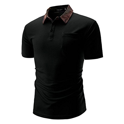 Sommer Casual Basic Einfarbige Baumwollmischung Sweatshirt T-Shirt mit Kragen Größen S-3XL (L, Schwarz)