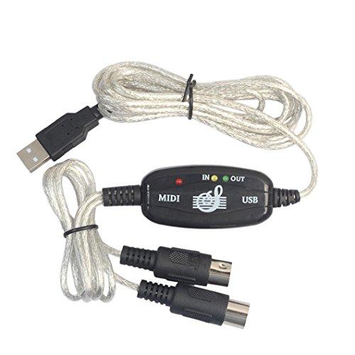 Wokee Midi/USB-Adapterkabel, Neue USB zu Midi Interface Piano Musik Tastatur Kabel Adapter Konverter für PC Zum Anschluss Eines Keyboards an PC/Mac