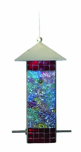 "Gardman BA04850 Mosaic Glass Square Tube Seed Feeder 5"" long x 5"" wide x 9.5"" high"