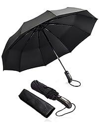 Regenschirm, Omitium Winddicht Regenschirm Taschenschirm Auf-Zu-Automatik Leicht kompakt Stabiler Schirm mit 10 Rippen Schirm für Reisen Business (Schwarz)
