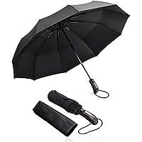 omitium Parapluie Pliant Coupe, Vent Parapluie Pliable et Compact Ouverture et Fermeture Automatique Parapluies de Voyage avec 210T y Con 10 Baleines pour Femme et Homme -Noir