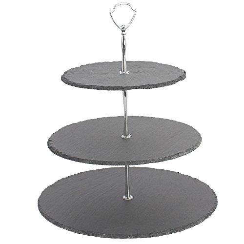 COM-FOUR® Etagere aus Schiefer mit 3 Ebenen, Höhe 36,5cm, Gebäckschale, Obstschale (Schiefer- Höhe 36.5 cm)