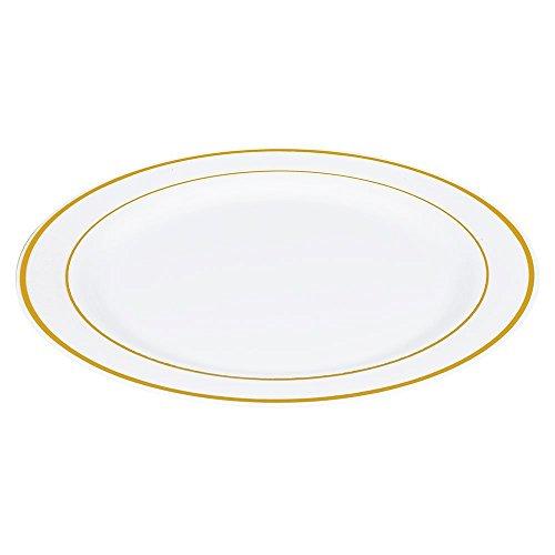 Fall von 50Gold Rand Teller, plastik, 10.25 Plate Gold-band-teller