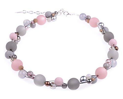 """Halskette """"Angela"""", Materialmix in Grau und Rosa, Polaris- Acryl- und Glasperlen, handgefertigt von Adi-Modeschmuck in Berlin"""