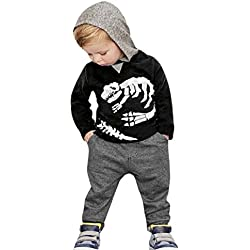 Xinantime 2~6 años Niños Dinosaurio Huesos patrón Camiseta con capucha Manga larga + Pantalones Otoño Invierno Ropa Conjunto (2 años, Negro)